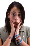 Teen surprised. Girl surprised in white background royalty free stock photos