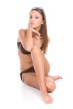 Teen in swimsuit. Happy young woman in swimsuit. over white background Royalty Free Stock Images