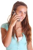 Teen talking on cell phone Royalty Free Stock Photo