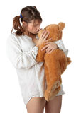 Teen with teddy bear Royalty Free Stock Images