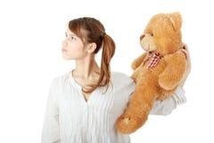 Teen with teddy bear Stock Photo