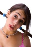 Teen and tongue. Girl in white background stock photo