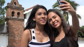 Teen Tourists Taking Selfie at Church stock video