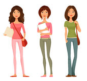 Teen or tween student girls. Cute cartoon illustration of teen or tween student girls Royalty Free Stock Photography