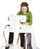 Teen Uses Sewing Machine Stock Photos