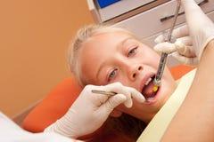 Teen visiting dentist stock photos