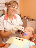 Teen visiting dentist Stock Images
