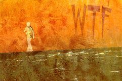 Teen Walking Away. Grunge illustration of teenage boy walking away with WTF graffiti on the wall Royalty Free Stock Images