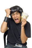 Teen waving cash Stock Photos