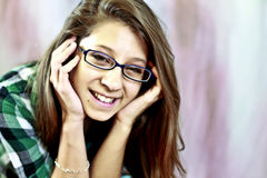 Teen wearing glasses Stock Photos