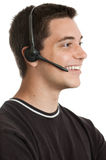 Teen wearing headset Stock Photo