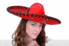 Teen Wearing Mexican Sombrero stock photography