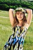 Teen wearing wreath Royalty Free Stock Photo