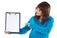 Teen whit clipboard Stock Photography