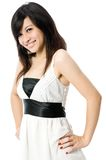 Teen In White Dress. A cute Asian teenager in white dress on white background Stock Photos