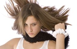 Teen with wild hair. Teenage girl with her hair flying wildly Stock Photos