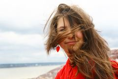 Teen with windblown hair Stock Photos