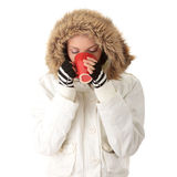Teen winter girl drinking Royalty Free Stock Photos
