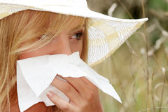 Teen woman with allergy Royalty Free Stock Photography
