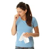 Teen woman with allergy Stock Image