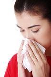 Teen woman with allergy or cold Royalty Free Stock Photos