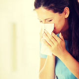 Teen woman with allergy. Or cold Stock Images