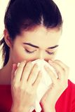 Teen woman with allergy or cold Royalty Free Stock Image