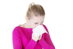 Teen woman with allergy. Or cold, isolated on white background Stock Photos