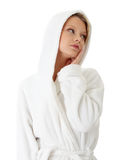 Teen woman in bathrobe Royalty Free Stock Images