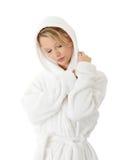 Teen woman in bathrobe Stock Image