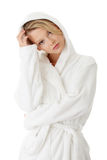 Teen woman in bathrobe Stock Photography