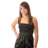 Teen woman in black elegant dress Stock Images