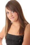 Teen woman in black elegant dress Royalty Free Stock Photos