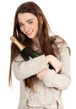 Teen woman with champagne Royalty Free Stock Photo
