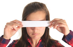 Teen woman covering her eyes isolated on white Stock Photography