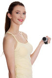 Teen woman doing fitness exercise Royalty Free Stock Image
