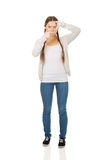 Teen woman with frame gesture. Stock Photos