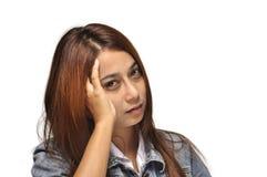 Teen woman head ache stock photos
