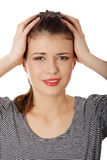 Teen woman with headache Stock Photos