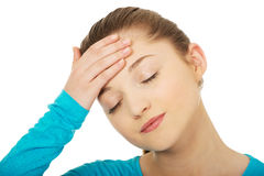 Teen woman with headache. Stock Images