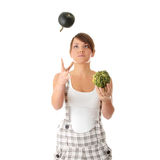 Teen woman juggle Royalty Free Stock Images