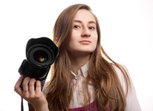 Teen woman photographer Stock Images