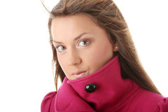 Teen woman in pink female coat Royalty Free Stock Photo