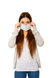 Teen woman with protective mask. Royalty Free Stock Image