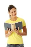 Teen woman reading book Stock Photos