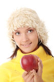 Teen woman with red apple Royalty Free Stock Image