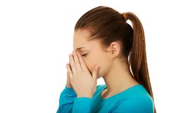 Teen woman with sinus pain. Stock Photography