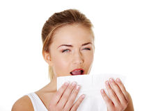 Teen woman with tissue. Sneezing Stock Photos