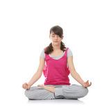 Teen woman training yoga Stock Images