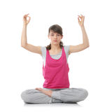 Teen woman training yoga Royalty Free Stock Image